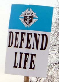 Defend Life sign. Photo by Brian Keaney